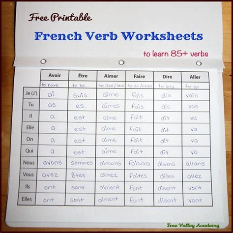 pages   printable french verb worksheets  learn