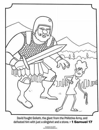 Coloring Bible Pages Goliath Samuel David Preschool