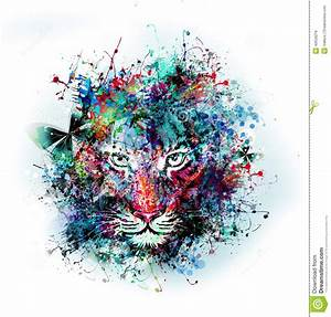 Abstract Art Picture With Tiger Stock Illustration