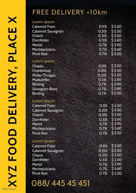 food delivery service price list truck price list template price list design price list