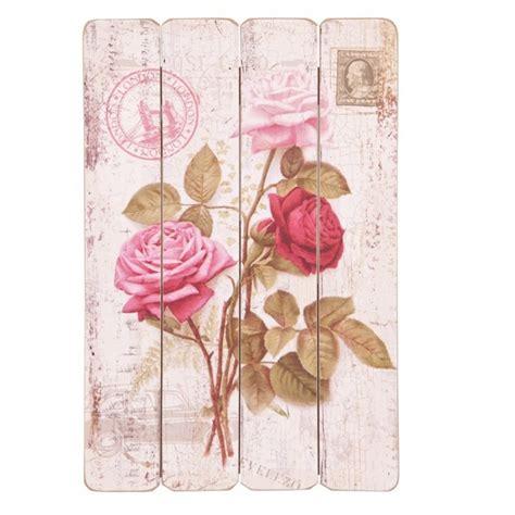plaque tableau decoration fleurs roses style carte postale