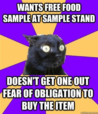 Anxiety Cat Memes - anxiety cat wants free food sle at sle stand doesn t get one out of fear of obligation