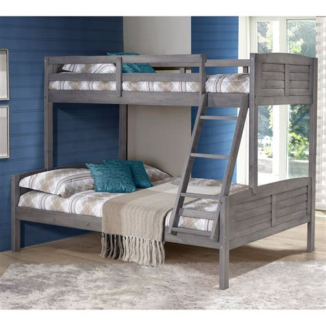 The gently curved classic style of this floor length headboard, outlined with a chrome nail head trim and cushioned diamond tufting, gives the bed a statement making flair. Donco Louver Twin over Full Bunk Bed - Antique Grey - Bunk ...
