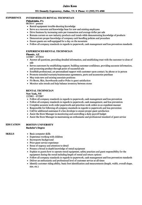 Rental Resume by Rental Technician Resume Sles Velvet
