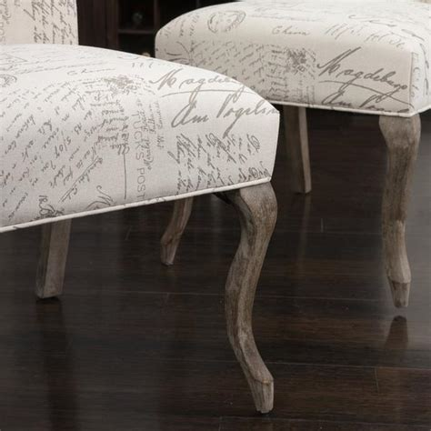 crown  french script beige fabric dining chairs set