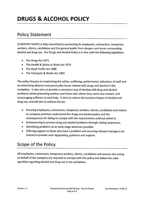 Employee Substance Abuse Policy Template Workable And Policy Template Link To File
