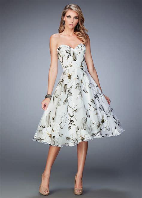 printed bridesmaid dresses 2016 vintage style floral print multi tea length prom dress la femme 22533 multi