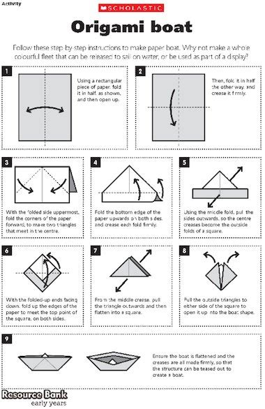 Origami Boat Written Instructions by Origami Boat Early Years Teaching Resource Scholastic
