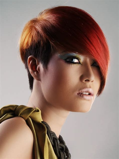 red asian hair    short neck   long fringe