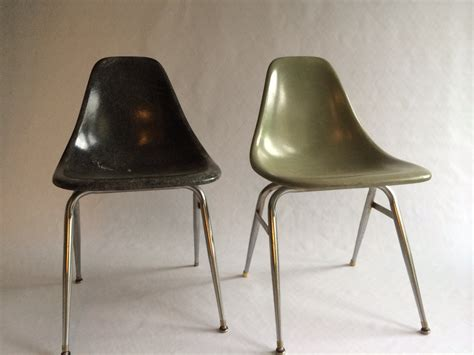 vintage eames style unmarked fiberglass shell chairs set of 2