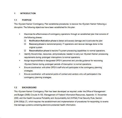 contingency operations plan template 8 contingency plan templates word pdf free premium