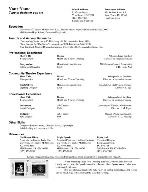 Theatrical Resume Template by Theatre Resume Template Drama Acting Resume