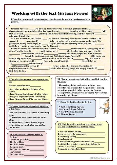 Working With The Text (sir Isaac Newton) Worksheet  Free Esl Printable Worksheets Made By Teachers
