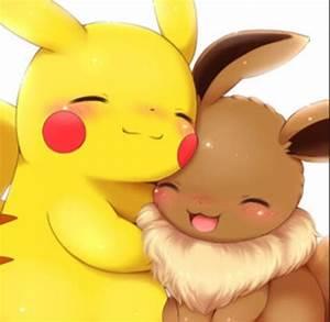 Pikachu eevee hug aw   o ️o   Pinterest   Pikachu