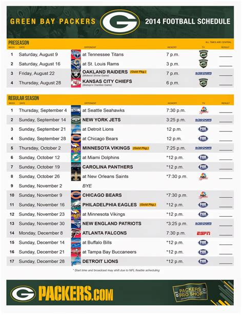 green bay packers schedule  printable  green bay