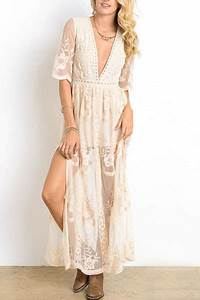 Low Cut Plunging Neckline Sheer Lace Dress Off White
