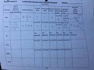 Solved  Lewis Structures And Vsepr Shapes Please Fill Out