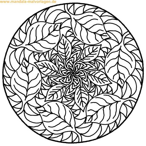 mandala zum ausmalen tree  leaves coloring mandala