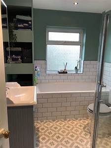 Traditional, Bathroom, With, White, Metro, Tiles, And, Patterned
