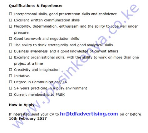 tdf advertising limited pr account manager job in nairobi