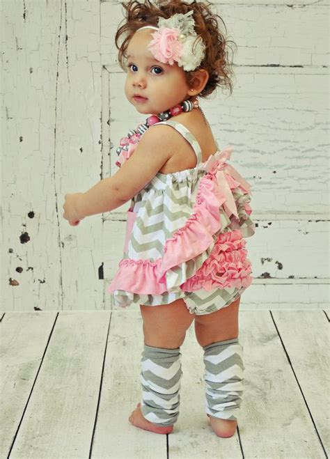 Not Perfect Pink and Grey Chevron Baby Toddler Infant Clothes Outfit Swing Set Summer Ruffles ...