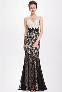 robe de ceremonie noire et blanchefemme robe longue chic With robe de soirée longue dentelle