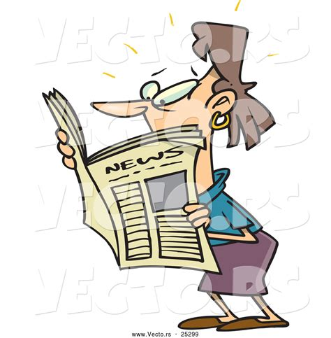 Vector Of A Shocked Cartoon Woman Reading Newspaper