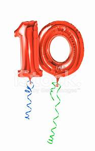Red Balloons With Ribbon Number 10 Stock Photos