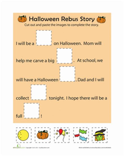 rebus story worksheet education 142 | halloween rebus story comprehension kindergarten
