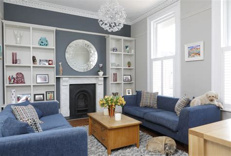 Gray Blue Living Room Americanmoderateparty
