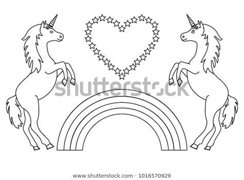 couple unicorns rainbow heart stars coloring stock vector