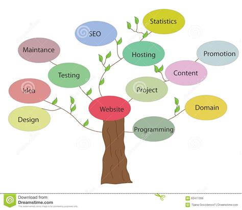 Seo Website by Website Development Tree Stock Illustration Image Of