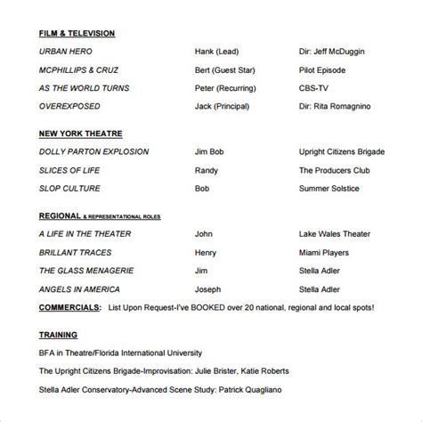 How To Present Your Acting Resume by Acting Resume Template 19 In Pdf Word Psd