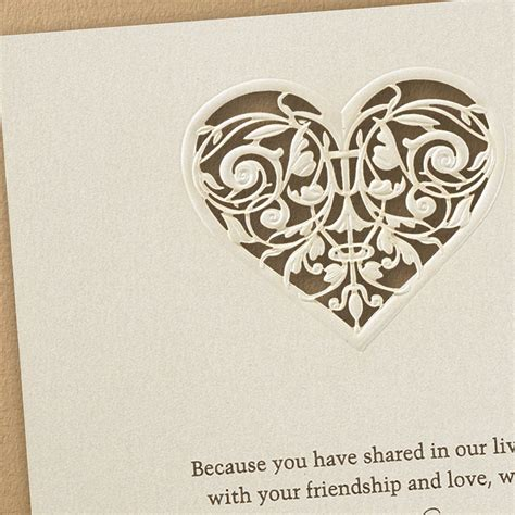 laser cut heart wedding invitations  flamingo