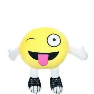Tongue Out Winking Smiley Plush 11in x 9in - Party City