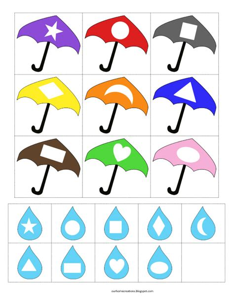 ourhomecreations w is for weather 503 | Umbrella and rain shape match