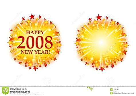 happy  year  fireworks logo stock illustration