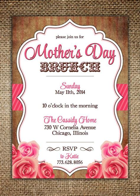 mothers daybirthday invitation vintage design