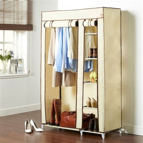 Cupboard Hanging Rail by Canvas Effect Wardrobe Clothes Cupboard Hanging