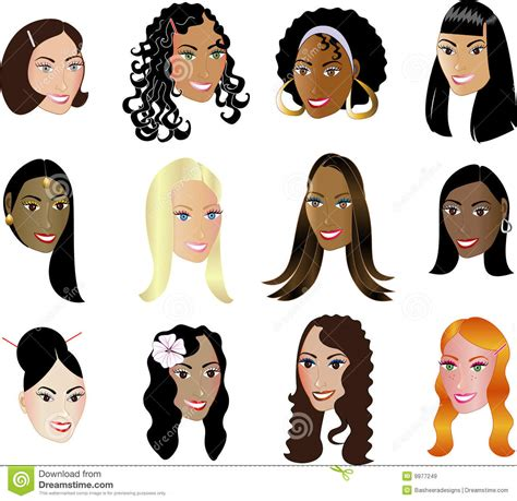 faces diversity ethnicity see my others stock vector illustration of colors curly 9977249