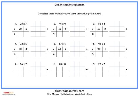 multiplication worksheets using grid method grid method multiplication classroom secrets