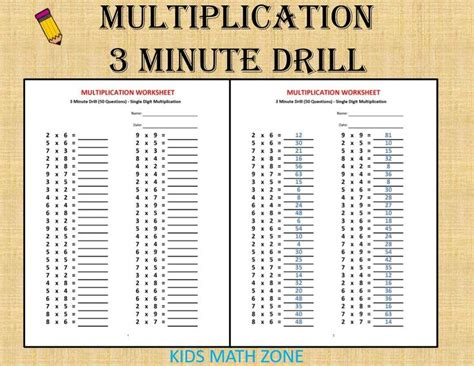 multiplication  minute drill   answers  sheets