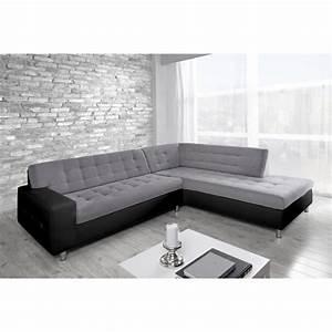 Canapé D Angle 6 Places : java canap d 39 angle droit simili et tissu 6 places achat vente canap sofa divan ~ Teatrodelosmanantiales.com Idées de Décoration