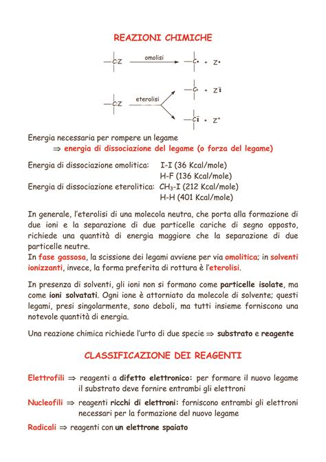 chimica organica dispense reazioni dispense
