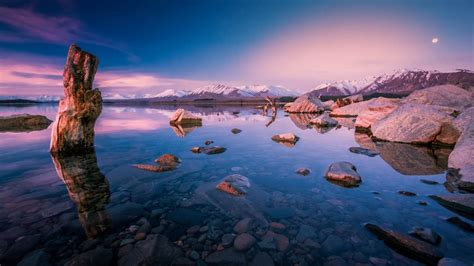 evening sunset  lake tekapo  zealand  desktop