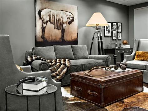 gray transitional living room  leather trunk coffee