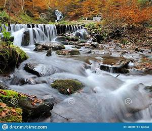 Mountain, Waterfall, In, Autumn, Forest, Stock, Image