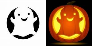 Cute ghost pumpkin carving stencil. Free PDF pattern to ...