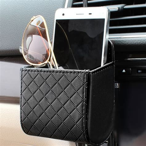 black box auto auto vent outlet trash box pu leather car mobile phone