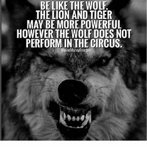 BE LIKE THE WOL... Wolf Vs Tiger Quotes